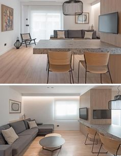 This dining area with a cantilevered table top is used to create a separation between the living room and the kitchen. #Cantilevered #CantileveredDiningTable #InteriorDesign #DiningRoom