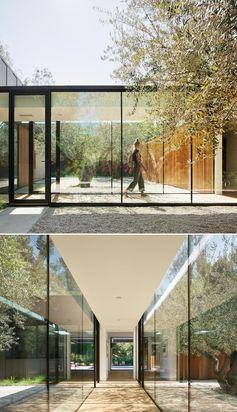 A glass lined hallway.