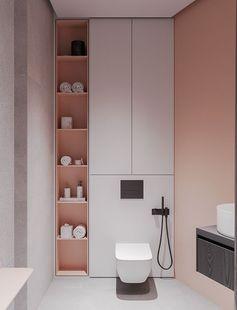 Petit placard et étagère qui encadrent le bloc toilettes