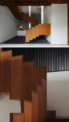 Ming Architects has designed a house in Singapore, and one of the stand out features of the house, is a floating wood staircase and its guardrail. #FloatingStairs #WoodStairs #ModernStairs #WoodGuardrail #StairDesign #TeakStairs