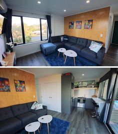 An open plan living room and kitchen in a small shipping container house