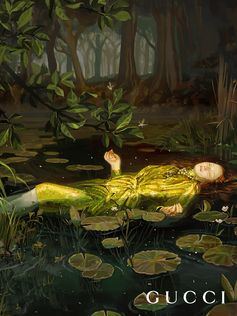 Inspired by the ethereal painting of Ophelia (1852) by John Everett Millais which hangs in the Tate Britain in London, artist Ignasi Monreal creates a golden sequin dress by Alessandro Michele for the Gucci Spring Summer 2018 campaign Gucci Hallucination.  Creative Director: Alessandro Michele Art Director: Christopher Simmonds