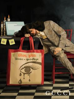 Captured in an illustration by artist Ignasi Monreal, a leather tote featuring the artwork for the cover of Sir Elton John's single 'Levon' from the Gucci Elton John capsule collection available for pre-order exclusively on Gucci.com today.  Creative Director: Alessandro Michele Art Director: Christopher Simmonds
