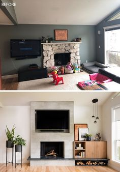 BEFORE & AFTER - Seattle-based interior design firm ULLEstudio, has recently completed the modern renovation of a open plan living room and dining room. #LivingRoomRenovation #LivingRoom #Remodel #Renovation