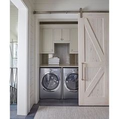 A beautiful hidden laundry room nook designed by #GeoffChickandAssociates. via: @the_real_houses_of_ig. | @scoutandnimble instagram