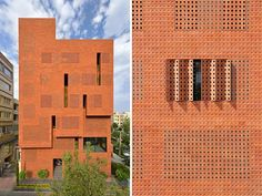 A modern brick building with a patterned facade.