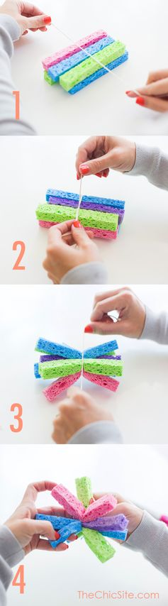 How to make sponge bombs for super Summer fun.  Dip in water & toss at each other to cool off