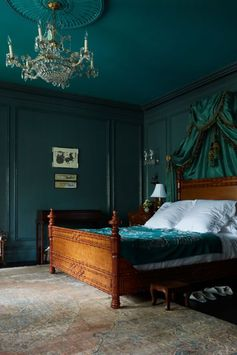 William and Susan Brinson created this elegant jewel box by going green. Lucky guests now sleep in a regal suite painted Farrow & Ball's Inchyra Blue. See more at House of Brinson »