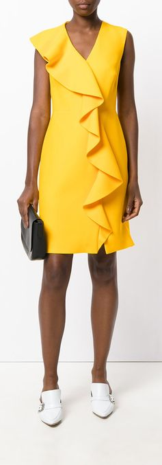Bright yellow, mini, and ruffled—summer dresses don't get much better than this Emilio Pucci number. This frill dress will effortlessly give you an elevated look. Refine your wardrobe with this Emilio Pucci frill detail fitted dress at Farfetch.