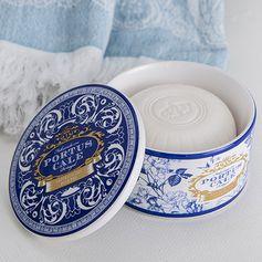 CASTELBEL - Boîte en céramique et savon parfumé gold & blue Portus Cale 150g