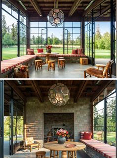 This sun room has plenty of windows looking out onto the field, as well as wrap-around seating and an inglenook. #SunRoom #GardenRoom