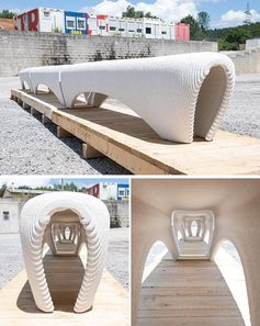A 3D printed white concrete outdoor bench.