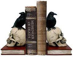 Amazon.com: DWK - Murder  Mystery - Ravens on Skulls Bookends Gothic Poe Crow Reading Bookshelf Library Home Décor Book Shelf Accent, 8.5-inch: Home  Kitchen