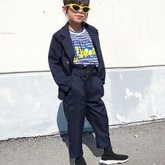 Outfit on point  @g.von.g styles the #GUESSkids stripped tee perfectly!