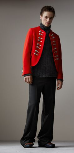 A Burberry collarless ceremonial jacket, flanked with decorative crested buttons and regimental tailoring