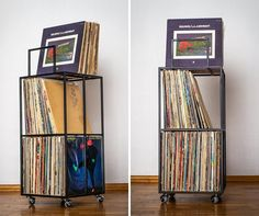 A standalone solution for vinyl record storage.