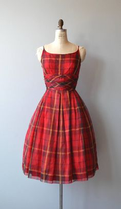 Vintage 1950s Jonathan Logan red plaid silk party dress with skinny shoulder straps, cummerbund wrapped...