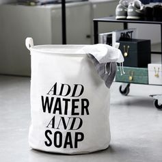 Panier à linge blanc Add water and soap House Doctor : Decoclico