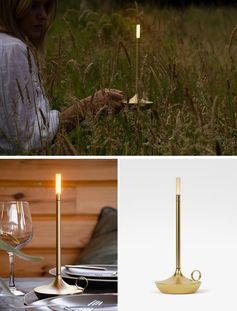 A modern portable lamp that draws inspiration from an old handheld candle holder.