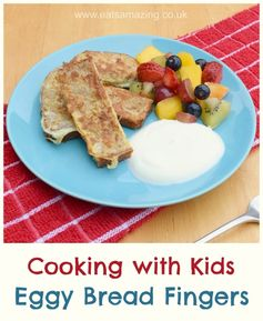 Simple Eggy Bread Fingers easy recipe for kids - serve with fresh fruit and yoghurt for a healthy family friendly breakfast - Eats Amazing UK