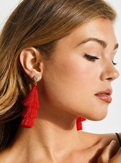 The Minimal Tiered Fringle Earrings, $25