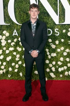 Actor Alexander Sharp attends the Tony Awards 2017 in New York, dressed in black Burberry tailoring and a printed shirt