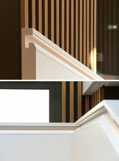 One of the unique details of the staircase design is the inclusion of a built-in handrail. The handrail is perfectly aligned with the inner side and includes recessed joints at the edge of the materials and lighting whose 60° angle illuminates the part of the handrail held by visitors. #Handrail #StairsWithLighting #StairDesign #Staircase