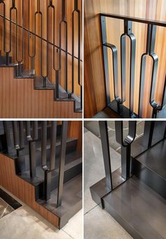 This Black Metal Stair Railing Makes A Strong Statement With Its U-Shaped Design