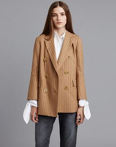 LE CIEL BLEU ボウオーバーシャツ/ストレートデニムパンツ/ピンストライプロングジャケット