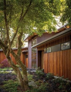 Weathering steel and ipe wood siding are featured on this modern house.
