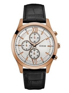 Black and Rose Gold-Tone Chronograph Watch