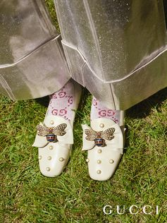 Detailed with an embellished bee and pearls, leather ballet flats from Gucci Cruise 2018 by Alessandro Michele.