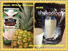 When i say Dole Whip what comes to mind?? Disney right? Yes~ this is a Mock Dole Whip Shakeology~ why not have the magic of Disney and have it be Healthy for you too?? Dole Whip Shakeology!! 1/2 cup FROZEN DOLE pineapple (crushed or chunks) ~2 tbsp. lemon juice~ 2 tbsp. lime juice ~1/2 c Coconut milk or Almond milk(or water) ~ 1/2 cup Ice~ 1 scoop Vanilla Shakeology~BLEND Enjoy!! — www.shakeology.com/runkat