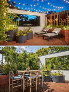 This modern house has been designed with two small private areas off the third floor. These were designed for sun bathing, a cup of coffee or a cocktail, or a soak in the hidden hot tub. Minimalist round grey planters add an interesting design touch that contrasts the overall use of wood. #Patio #OutdoorSpace #Deck #Landscaping