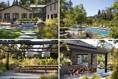 Modern farmhouse landscaping ideas that include a lounge, dining pergola, and swimming pool.
