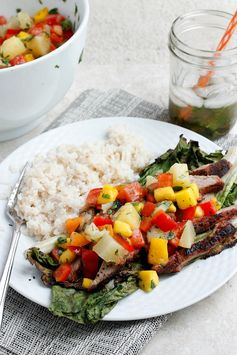 Grilled Pork Salad with Fruit Salsa and Coconut Rice - A complete sweet and savory meal. Yum!