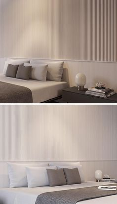 A Wall Of Wood Dowels Creates A Calm Texture For This Bedroom