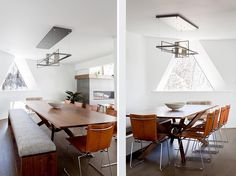 This modern dining room in a geodesic dome house features a custom built table and bench, which are surrounded by vintage leather chairs, and above, a sculptural lighting element by Hubbardton Forge. #DiningRoom #GeodesicDome #InteriorDesign #ModernDiningRoom