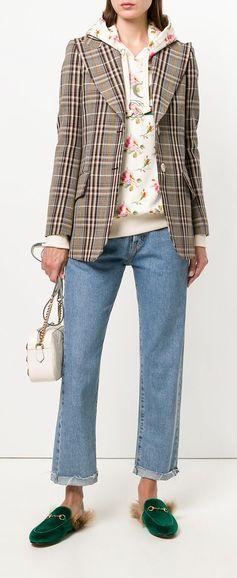 GUCCI plaid fitted blazer, explore new season Gucci on Farfetch now.