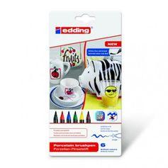 Le feutre pinceau Edding 4200 pointe 1 à 4 mm est idéal pour la porcelaine, la céramique émaillée et le verre résistant au four. Paquet de 6 feutres couleur...