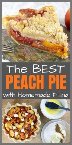 Fresh Peach Pie With Crumb Topping has mouth-watering fresh, pick of the season Georgia peaches, swirled together with brown sugar, cinnamon, and nutmeg all topped with a buttery, crumbly crisp. No fail, flaky homemade crust completes this perfect summer pie. #savorwithjennifer #pie #peachpie #crumble #crisp #crumb