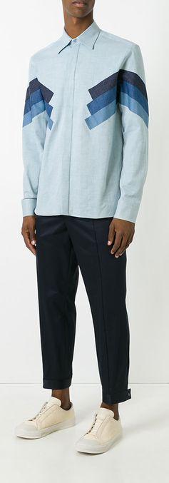 Neil Barrett contrast panelled shirt