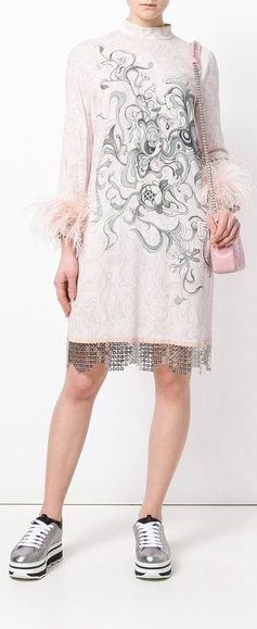 Prada Printed Feather Cuff Shift Dress