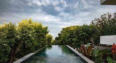 An infinity edge swimming pool.
