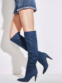 Nidia Slouchy Denim Boots | GUESS.com