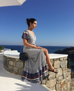 Greek beauty! Actress Tonia Sotiropoulou posing with her blue Studded Beauty bag (July 2016).