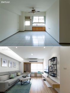 BEFORE & AFTER - The original white tile flooring featured throughout this apartment has been replaced with hardwood flooring, adding a sense of warmth and comfort to the interior. #Renovation #Flooring #ModernInterior