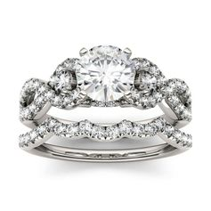Forever One Round Moissanite Solitaire with Side Accents Bridal Ring