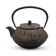 Gold and Black Cast Iron Tea Pot | KORIN