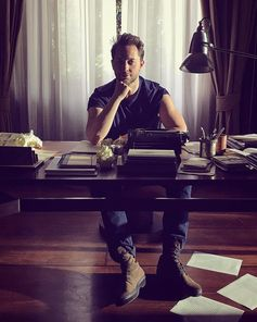 Derek Blasberg posing on the set of Tod's ADV Campaign. #Tods